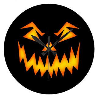 Scary Pumpkin Face Clocks