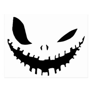 Scary Pumpkin Face in Black & White Postcard