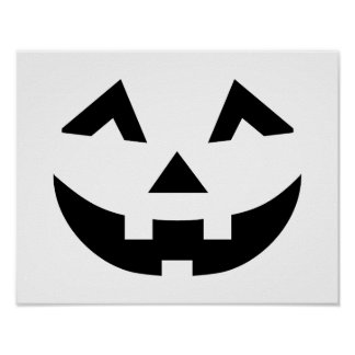 Scary pumpkin face poster