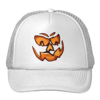 scary pumpkin face trucker hat