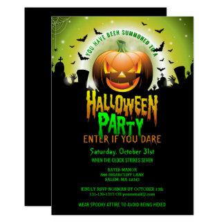 Scary Pumpkin Graveyard Halloween Costume Party Card