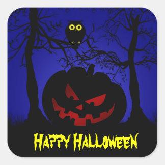 Scary Pumpkin Halloween Decorative Square Sticker