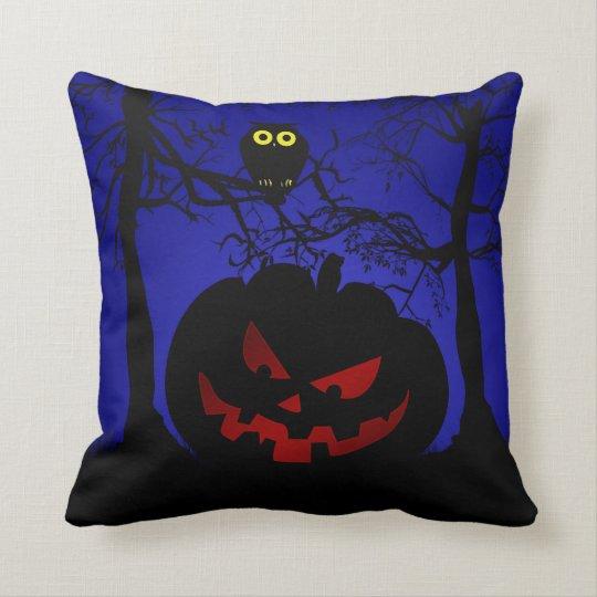 Scary Pumpkin Halloween Decorative Throw Pillow