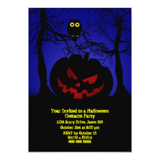 "Scary Pumpkin Halloween Party 5"" X 7"" Invitation Card"
