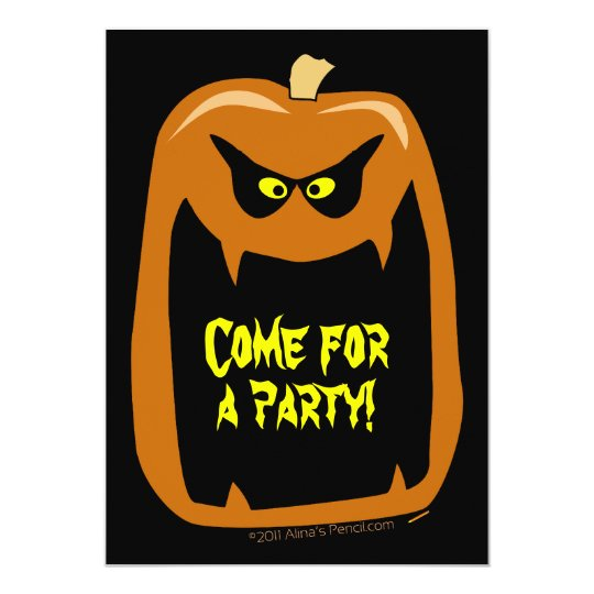 Scary Pumpkin Halloween Party Invitations