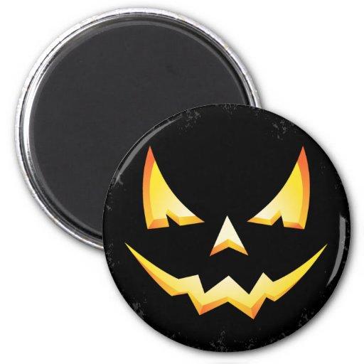 Scary Pumpkin Halloween Round Magnet