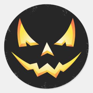 Scary Pumpkin Halloween Round Sticker