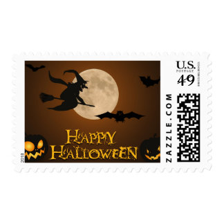 Scary Pumpkin Witch Full Moon Bats Happy Halloween Postage