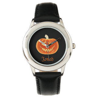Scary pumpkin with flames wrist watch