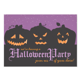 Scary Pumpkins at Night Halloween Party Invitation