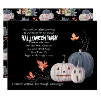 Scary Pumpkins Leaves Halloween Party Invitation |