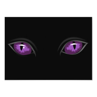 Scary Purple Eyes in Dark of Night Halloween Party 4.5x6.25 Paper Invitation Card