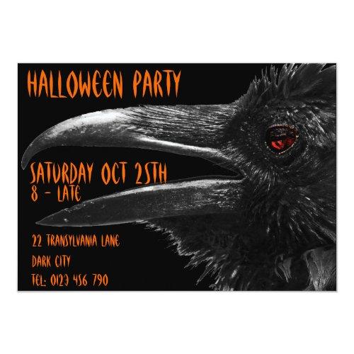scary raven halloween invitation