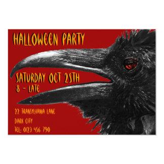 scary raven halloween invitation red