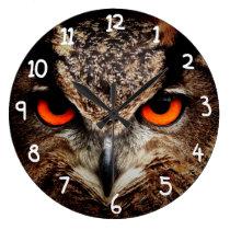 Scary Red Eyes Eagle Owl Large Clock
