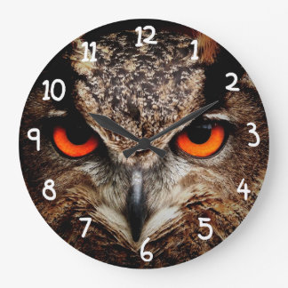 Scary Red Eyes Eagle Owl Large Clock