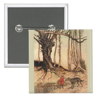 Scary Red Riding Hood 2 Inch Square Button