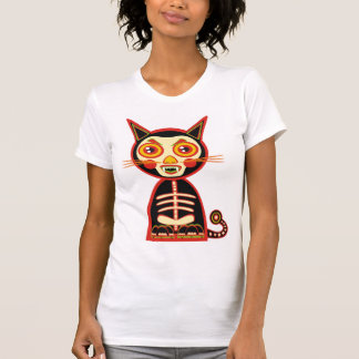 Scary Retro Skull Cat Tee Shirts