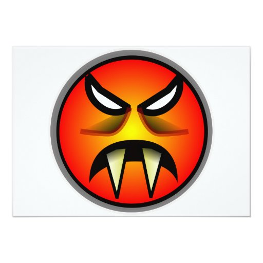 Scary Round & Orange Evil Devil Face with Fangs 5x7 Paper Invitation Card