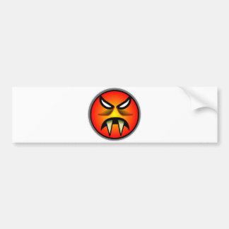 Scary Round & Orange Evil Devil Face with Fangs Car Bumper Sticker