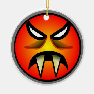 Scary Round & Orange Evil Devil Face with Fangs Ceramic Ornament