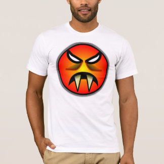 Scary Round & Orange Evil Devil Face with Fangs T-Shirt