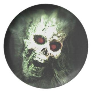 Scary screaming skull melamine plate