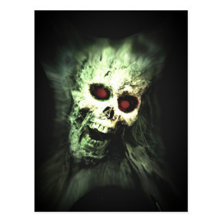 Scary screaming skull postcard