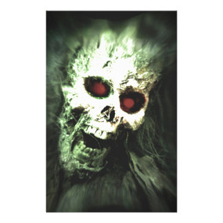 Scary screaming skull custom stationery