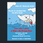 """Scary Shark Birthday Pool Party Invite<br><div class=""""desc"""">Once in my store a mother and her son were looking for pool party birthday invites for his 6th birthday. She picked out some very cute designs of painted fish and cute little whales. He hated them. She told him, """"But darling, see how cute they are? Just like my little...</div>"""