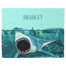 Scary Shark custom name fleece blankets