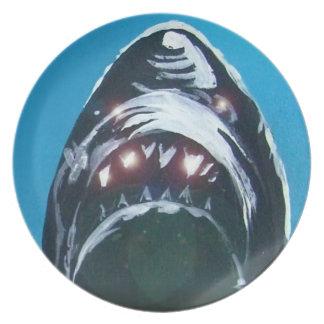 Scary shark melamine plate