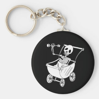 Scary Skeleton Baby Shower Round Key Chain