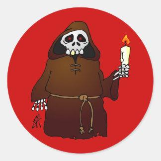 Scary Skeleton Monk Classic Round Sticker