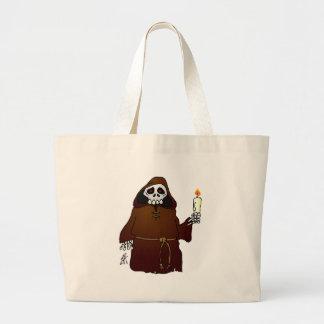Scary Skeleton Monk Large Tote Bag