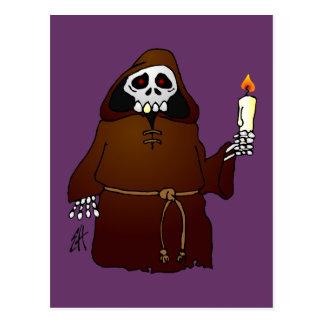 Scary Skeleton Monk Postcard
