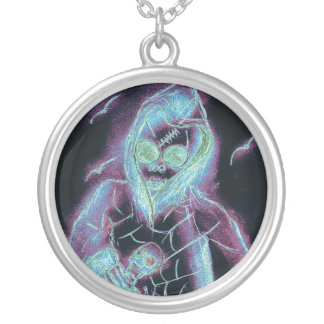 scary skeleton round pendant necklace