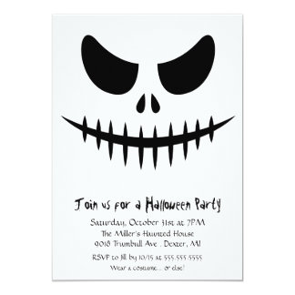 Scary Skeleton zombie Face Halloween Costume Party 5x7 Paper Invitation Card