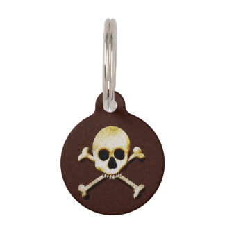 Scary Skull And Crossbones Poison Halloween Pet ID Tag