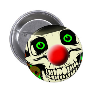 Scary Skull Clown Face Button