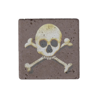 Scary Skull Crossbones Halloween Haunted House Stone Magnet