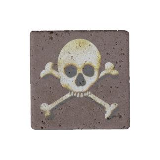 Scary Skull Crossbones Halloween Haunted House Stone Magnet