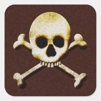 Scary Skull Crossbones Poison Halloween Square Sticker