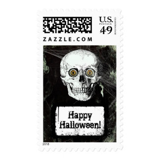 Scary Skull Horror Happy Halloween Stamp