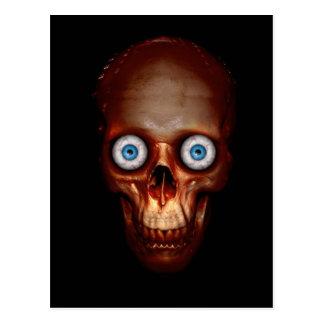 Scary skull in the dark post cards