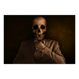 Scary Skull Man in Suit Poster