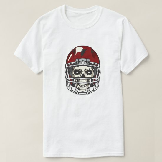 Scary Skull with Red  Football Helmet T-Shirt