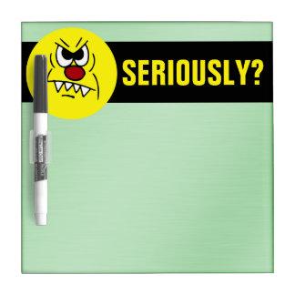 Scary Smiley Face Grumpey Dry Erase Board