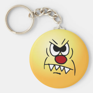 Scary Smiley Face Grumpey Keychain
