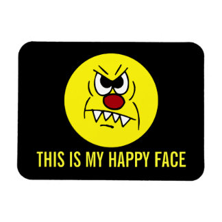 Scary Smiley Face Grumpey Magnet